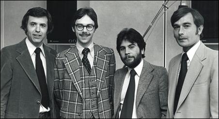 CEO Bill Kling, Dave Felland, senior producer Greg Barron and Gary Eichten in the MPR studios in the 1970s.
