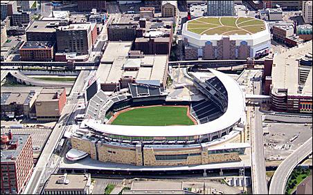 Aerial view of Target Field
