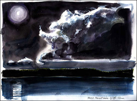 Hugh Bennewitz was camping in the BWCA the night of the storm that started the Pagami Creek Fire. He drew the storm as it rolled in, then added watercolors.