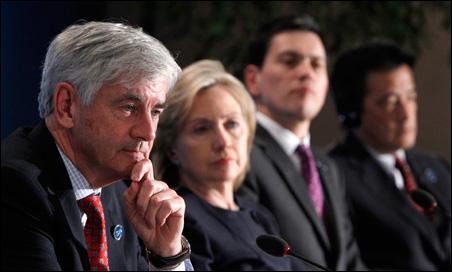 Canada's Foreign Minister Lawrence Cannon, U.S. Secretary of State Hillary Clinton, Britain's Foreign Secretary David Miliband and Japan's Foreign Minister Katsuya Okada attend the closing news conference at the G8 foreign ministers' meeting on Tuesday.