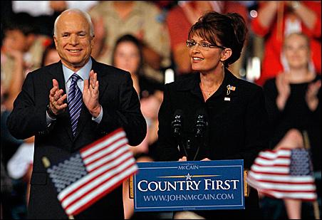 John McCain and his veep running mate: Sarah Palin.