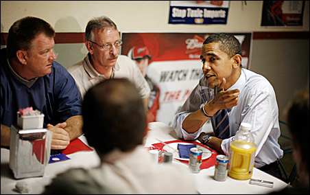 Sen. Barack Obama at a breakfast with union members in Evansville, Ind.