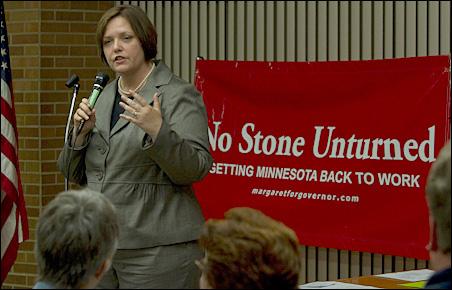 DFL-endorsed gubernatorial candidate Margaret Anderson Kelliher stressed job creation at Thursday night's Richfield meeting.
