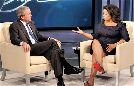 Talk-show host Oprah Winfrey interviews former President George W. Bush during taping of 'The Oprah Winfrey Show' at Harpo Studios in Chicago.
