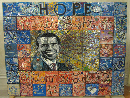The Obama mosaic will be on display in the Minneapolis City Hall and Hennepin County Courthouse Rotunda Gallery through Feb. 27.