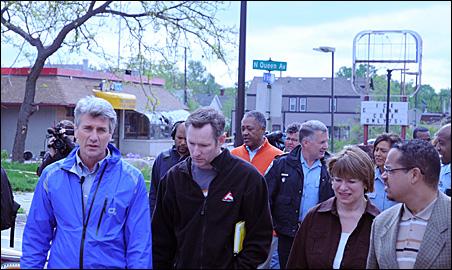 Mayor Rybak, Sen. Klobuchar and Rep. Ellison were among those who took a walking tour of the damaged areas of North Minneapolis.