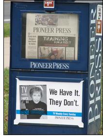 Pioneer Press newspaper box