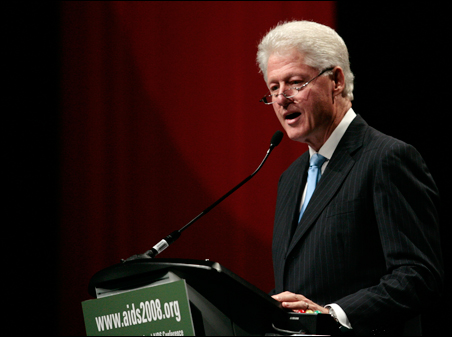 Former President Bill Clinton speaking to the 17th International AIDS Conference in Mexico City Monday.