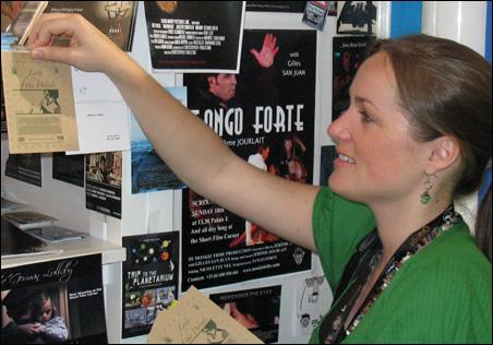 Filmmaker Aleshia Mueller networking in Cannes.