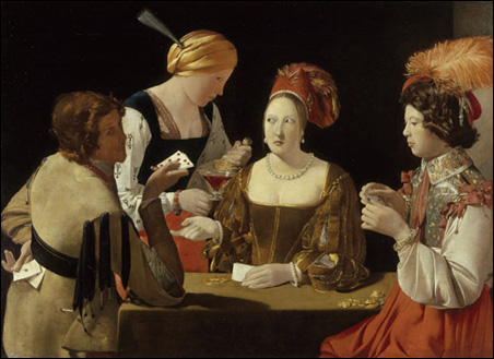 """""""The Card-Sharp with Ace of Diamonds,"""" by Georges de La Tour, oil on canvas."""