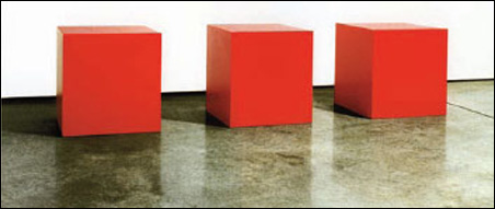 "Three Red Cubes (in shadow), 2001, Laminate & Wood (Color Core), 18"" Cubes, 2001"