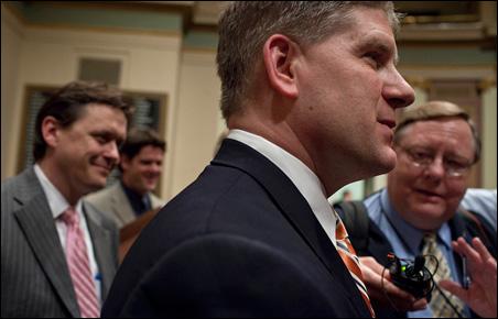 House Speaker Kurt Zellers speaks to the press during the Legislature's final hours on Monday.