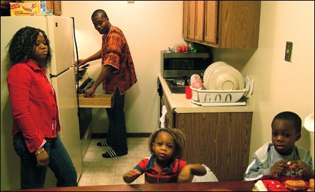 The Djagli family prepares for dinner.