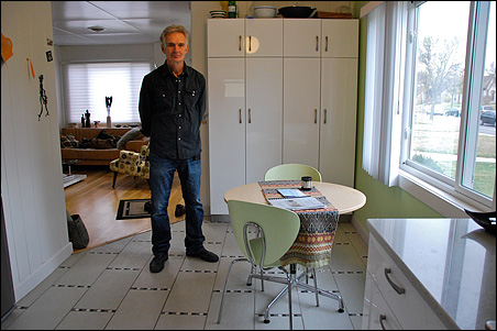 Buck Holzemer remodeled his kitchen it the original 1950 style.