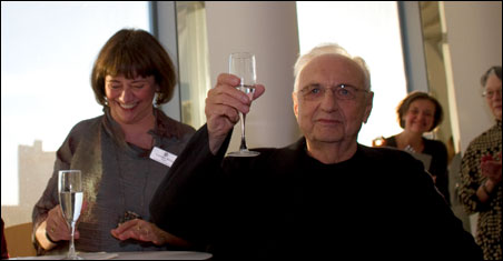 Lyndel King, left, and architect Frank Gehry celebrate WAM opening