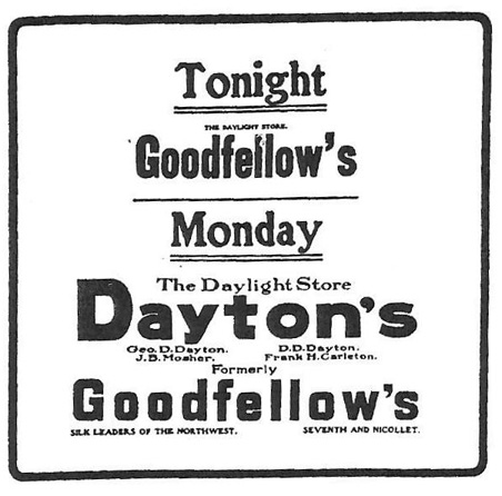 Dayton's first newspaper ad appeared in the May 23, 1903, issue of the Minneapolis Journal.