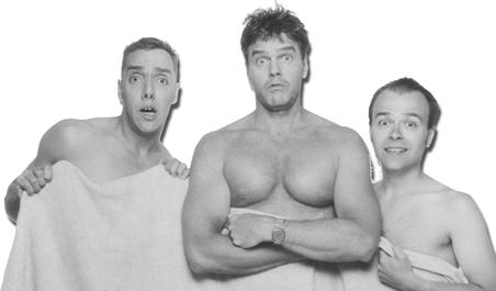 """From left: Jon Mikkelsen, John Trones and Dan Averitt in 8Ball Theatre's production of """"3Way,"""" opening Thursday."""