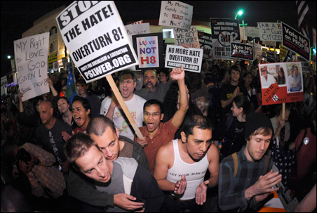California supporters of gay marriage rally to overturn the recently passed Proposition 8, which nullified the court ruling allowing same-sex unions.