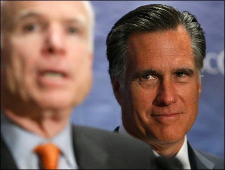 Former Massachusetts Gov. Mitt Romney, listening to John McCain in Denver earlier this year, is rumored to be on McCain's short list.