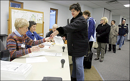 Lines formed in North Lake, Wis., during the state's presidential primary this year.