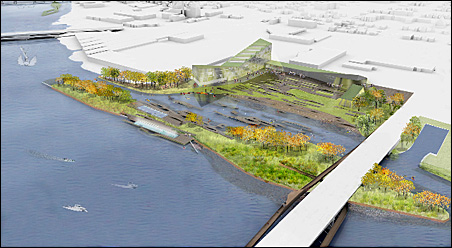 Concept for Scherer Park on the east bank below the Plymouth Bridge.