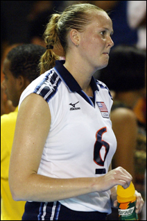 Elisabeth Bachman shown following the defeat of the U.S. team during the XIV Pan American Games, August 14, 2003.