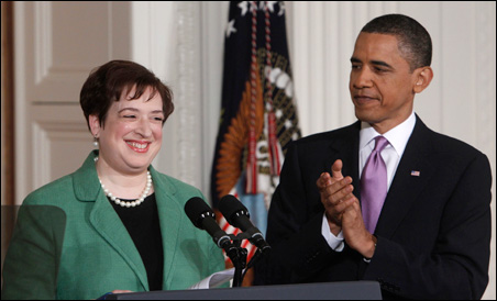 President Barack Obama, right, and his nominee for Supreme Court Justice, Solicitor General Elena Kagan, in the East Room at the White House on Monday.