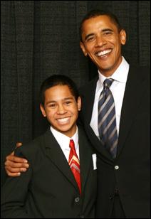 <strong>David Gilbert-Pederson and Sen. Barack Obama</strong>
