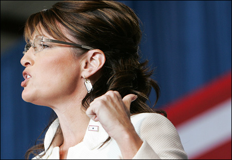 Gov. Sarah Palin at a campaign rally in Cedar Rapids, Iowa. Can she keep her every-mom image?