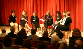Talk of the Stacks event with Barrie Jean Borich, Kathryn Kysar, Shannon Olson, Wang Ping, Faith Sullivan, Anne Ursu, and Ka Vang, moderated by Minnesota Public Radio Midmorning host Kerri Miller.