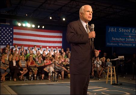Sen. John McCain speaks during a Friday town hall meeting in Hudson, Wis.