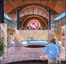 Drawing of the entry lobby of Seven Clans Red Lake Casino