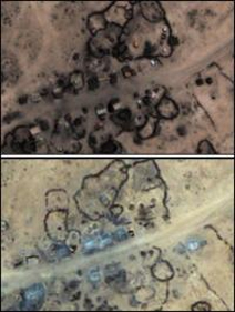The Ethiopian village of Labigah in 2005 (top) and 2008 (bottom), showing  evidence of Ethiopian Army destruction of villages.