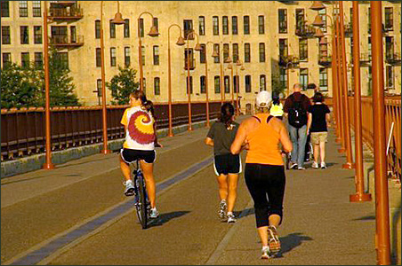 Minneapolis' Stone Arch Bridge, a place designed for safe walking and biking.