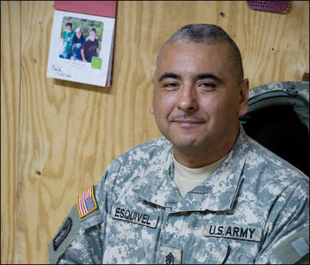 "First Sgt. Juan Esquivel of Oakdale: Iraqi deployment is ""especially tough for some of the younger people."""
