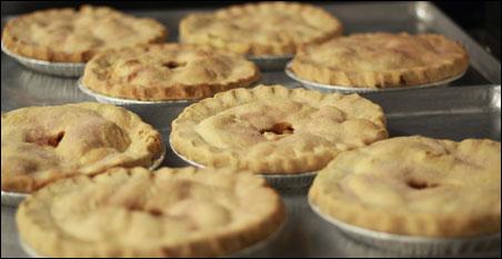 Some of Melanie Christensen's 156 apple pies.