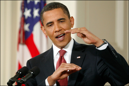 President Obama answers a question during his Wednesday news conference.