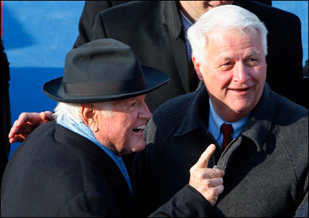 Sen. Edward Kennedy speaks with another Massachusetts Democrat, U.S. Rep. William Delahunt, at Tuesday's inauguration of Barack Obama.