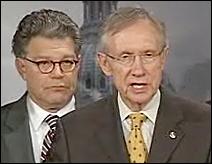 Sens. Al Franken and Harry Reid at Wednesday's news conference.