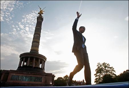 Sen. Barack Obama arrives Thursday to deliver a speech at the Victory Column in Tiergarten Park in Berlin.
