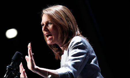 Michele Bachmann speaking to a crowd in Iowa on Friday night
