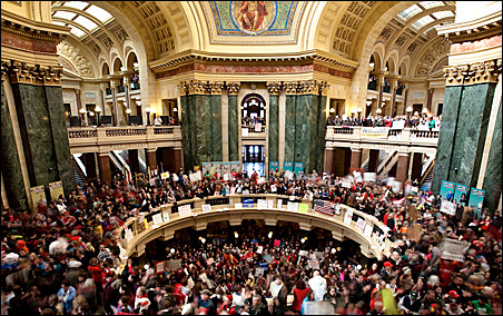 Thousands of protesters filled the Wisconsin Capitol corridors on Wednesday.