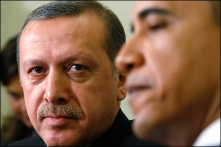 President Barack Obama meets with Prime Minister Recep Tayyip Erdogan, left, of Turkey in the Oval Office at the White House on Monday.