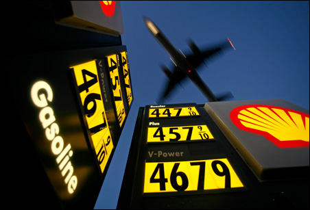 One reason fuel prices are so high in the U.S., such as this gas station near San Diego's Lindbergh Field, is that other nations subsidize prices.