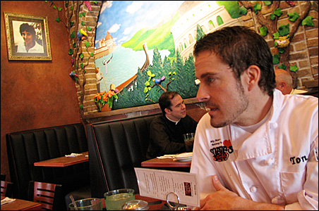 Tony Mudzinski has been working 80-hour weeks since the re-opening of Mama's Pizza in St. Paul's North End neighborhood. The restaurant, which closed in January 2007 because of flooding from a burst pipe, has been extensively renovated, including new mura