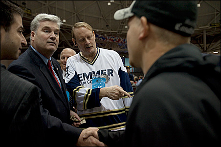 Rep. Tom Emmer greets delegates on the convention floor.