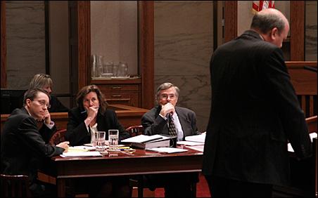 Tom Emmer's defense team looks on as Mark Dayton lawyer Marc Elias makes his case.
