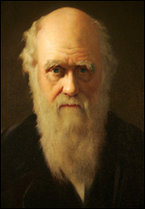 A detail of British artist John Collier's 1883 painting of Charles Darwin.