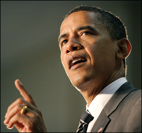 Barack Obama at a town hall meeting Tuesday in Powder Springs, Ga. His position on the war in Iraq is evolving.
