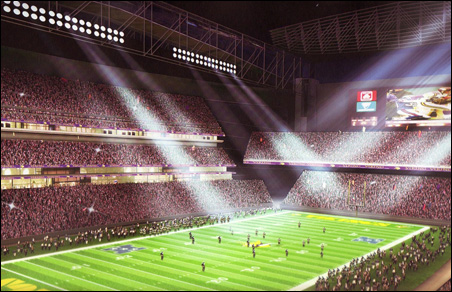 This sketch shows the proposed stadium with roof closed.